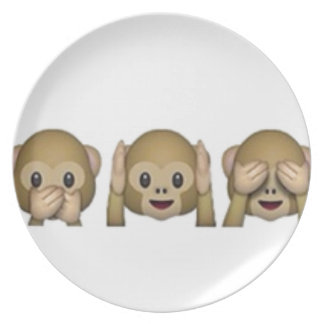 Monkey-Emoji - laughing monkey cartoon funny Plate