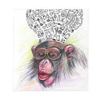 Monkey explosion. Woman Notepad