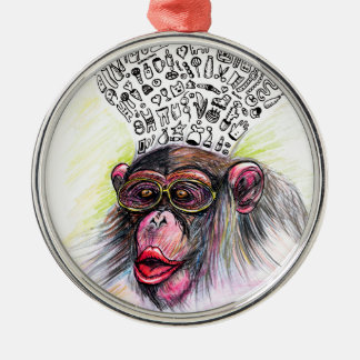 Monkey explosion. Woman Silver-Colored Round Decoration