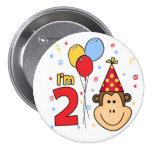 Monkey Face  2nd Birthday 7.5 Cm Round Badge