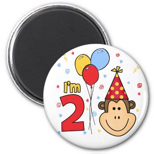 Monkey Face  2nd Birthday Fridge Magnets