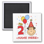 Monkey Face  2nd Birthday Square Magnet