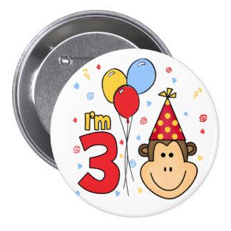 Monkey Face 3rd Birthday 7.5 Cm Round Badge