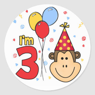 Monkey Face 3rd Birthday Classic Round Sticker