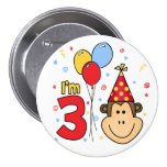 Monkey Face 3rd Birthday Pinback Button