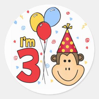 Monkey Face 3rd Birthday Round Sticker