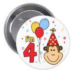 Monkey Face  4th Birthday 7.5 Cm Round Badge