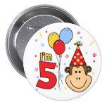 Monkey Face  5th Birthday 7.5 Cm Round Badge