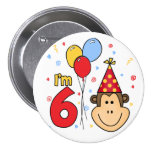 Monkey Face  6th Birthday Pinback Button