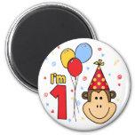 Monkey Face First Birthday 6 Cm Round Magnet