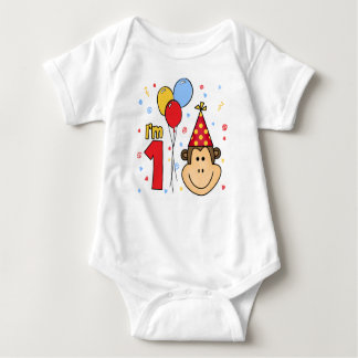 Monkey Face First Birthday Baby Bodysuit