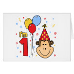 Monkey Face First Birthday Invitation Note Card