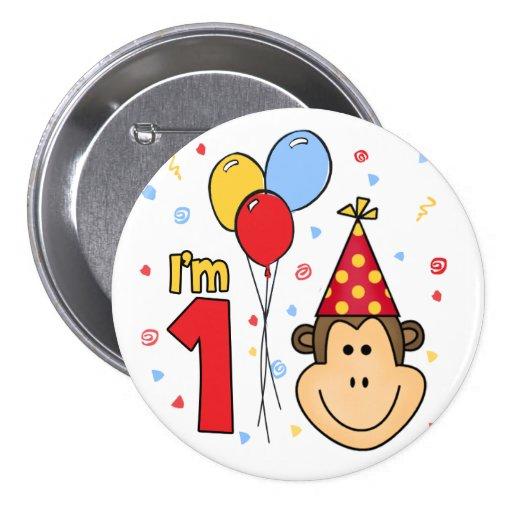 Monkey Face First Birthday Pinback Button