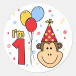 Monkey Face First Birthday Round Stickers