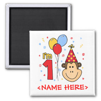 Monkey Face First Birthday Square Magnet