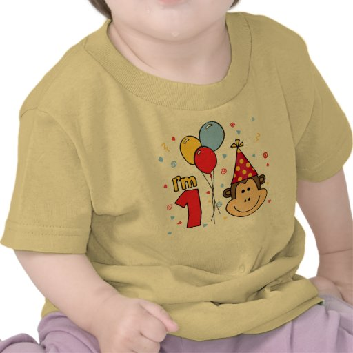 Monkey Face First Birthday Tshirt