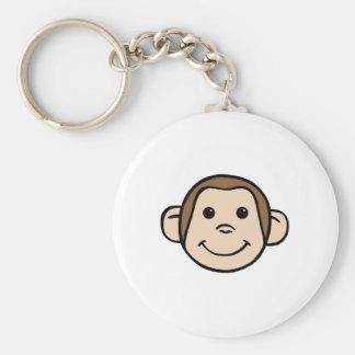 Monkey Face Basic Round Button Key Ring