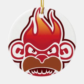 Monkey Face Logo Vector Round Ceramic Decoration
