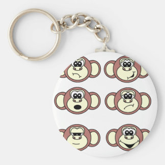 Monkey Faces Basic Round Button Key Ring