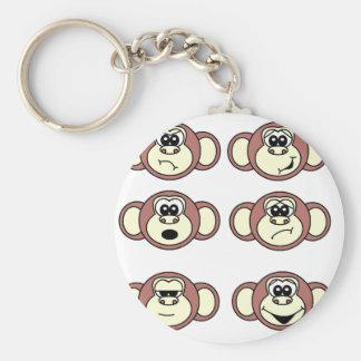 Monkey Faces Basic Round Button Key Ring