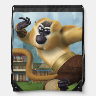 Monkey Fight Pose Drawstring Bag
