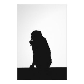 Monkey flossing silhouette photo stationery