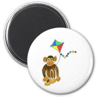 Monkey Flying Kite 6 Cm Round Magnet