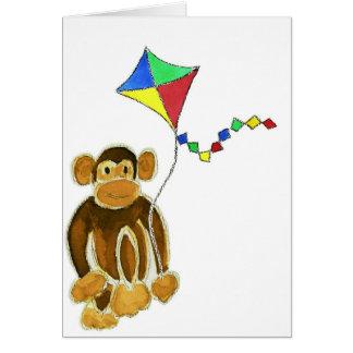 Monkey Flying Kite Greeting Card