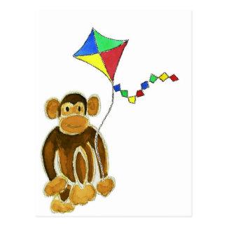 Monkey Flying Kite Postcard
