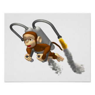 Monkey Flying With Jetpack Poster