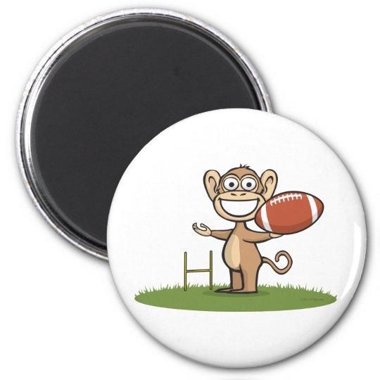 Monkey Football 6 Cm Round Magnet