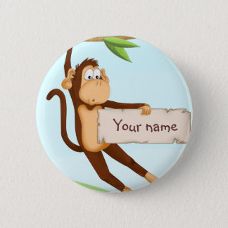 Monkey for children 6 cm round badge