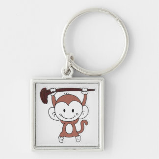 Monkey fun Silver-Colored square key ring