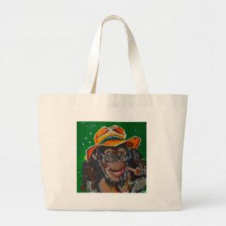 Monkey -Gentleman Large Tote Bag