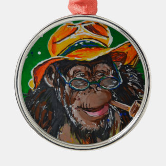 Monkey -Gentleman Silver-Colored Round Decoration