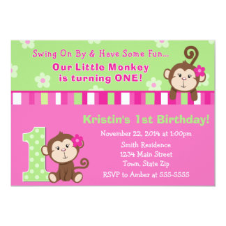 Monkey Girl 1st Birthday Invitation 5x7 Card