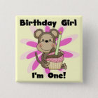 Monkey Girl 1st Birthday Tshirts and Gifts 15 Cm Square Badge