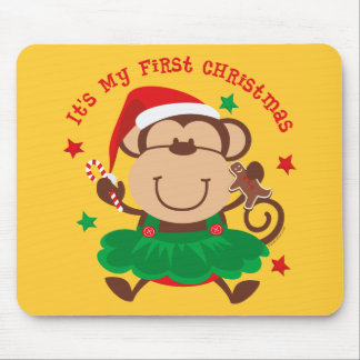 Monkey Girl 1st Christmas Mouse Pads