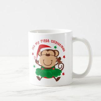 Monkey Girl 1st Christmas Mug