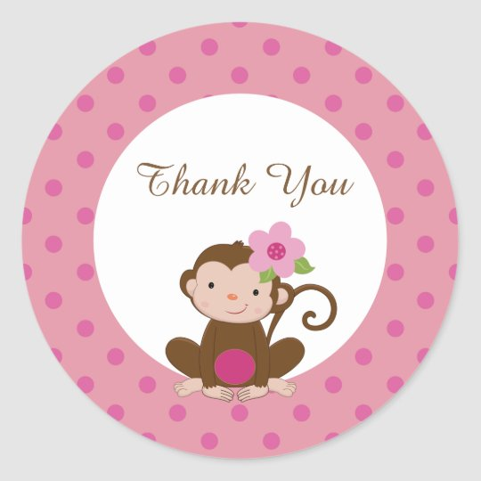 Monkey Girl Baby Shower Favour Gift Tags Sticker