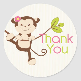 Monkey Girl Baby Shower Thank You Classic Round Sticker