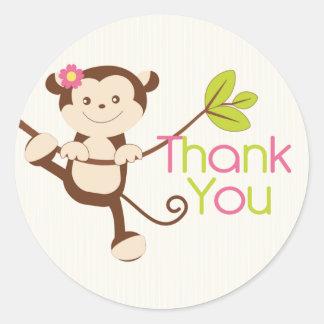 Monkey Girl Baby Shower Thank You Classic Round Sticker
