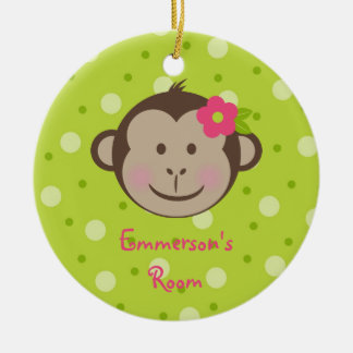 Monkey Girl child's room door hanger ornament