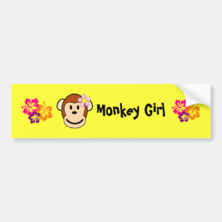 Monkey Girl Island Flower Bumper Sticker