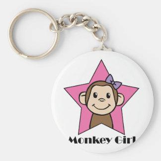 Monkey Girl Basic Round Button Key Ring