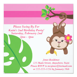 Monkey Girl (Leaf) Birthday Party Invitation