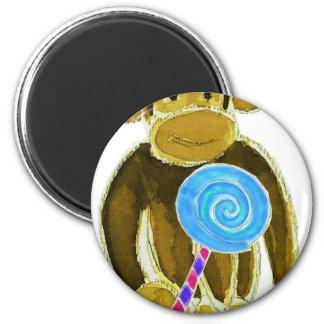 Monkey Girl Lollipop 6 Cm Round Magnet