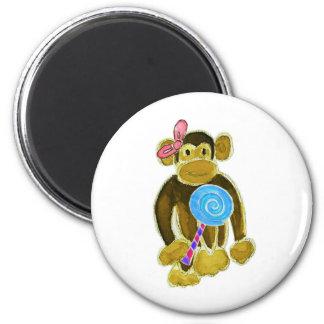 Monkey Girl Lollipop Fridge Magnets