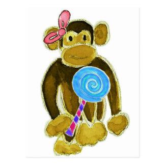 Monkey Girl Lollipop Postcard