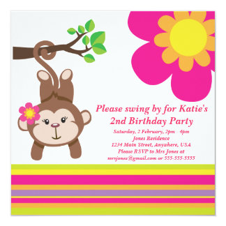 Monkey Girl (Pink) Birthday Party Invitation